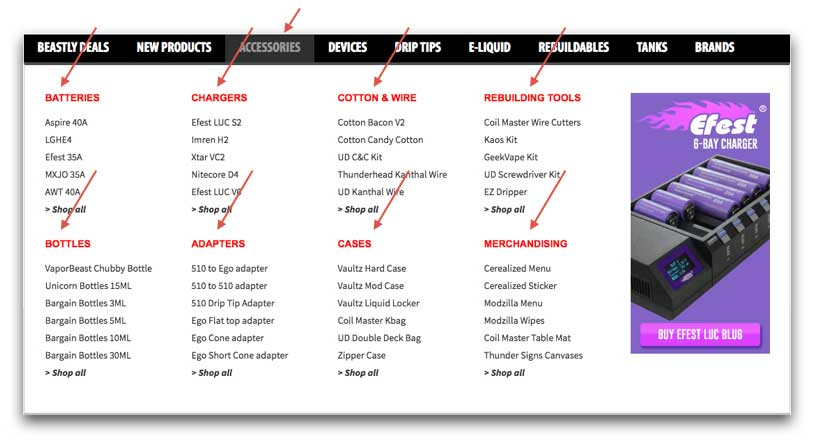 Vaporbeast.com Categories