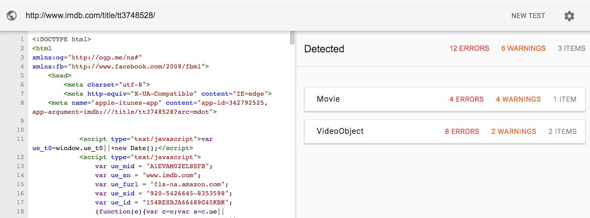 Example Google Structured Data Tool