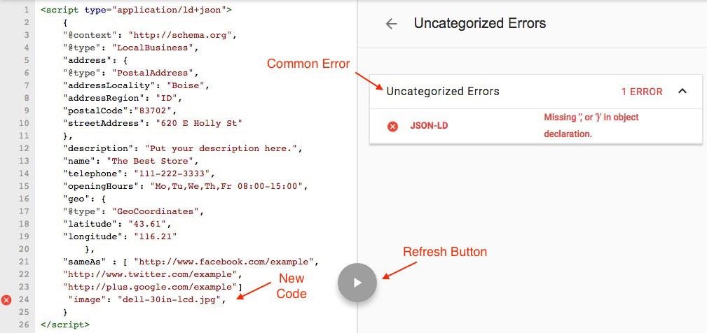 JSON LD Missing Object Declaration Error