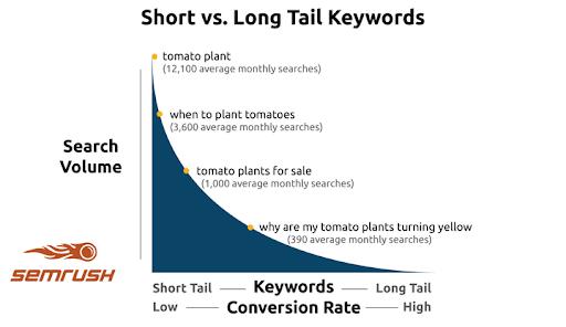 Short vs long tail keywords.